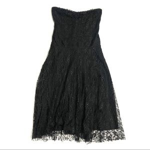 Necessary Objects Black Lace Strapless Dress